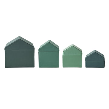 Menu - Nepal Projects, Traditional Houses Set of 4, green