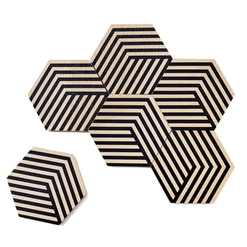 Set of 6 Table Tiles Optic by Areaware in black