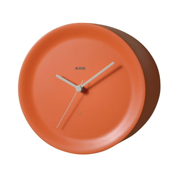 Ora Out edge clock by Alessi in orange