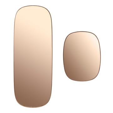 The Framed mirror in large and small in pink glass.