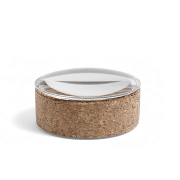 Hay - Lens Box with Lid S, stackable, Ø 10 cm, cork / glass lid