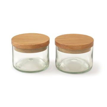 Salt & Spice Jars (Set of 2) by side by side, oak/glass