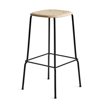 Soft Edge 30 High Stool by Hay in Oak Lacquered Matt / Black Powder-Coated Steel
