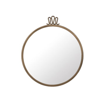 Randaccio Wall Mirror Ø 42 cm by Gubi in Vintage Brass