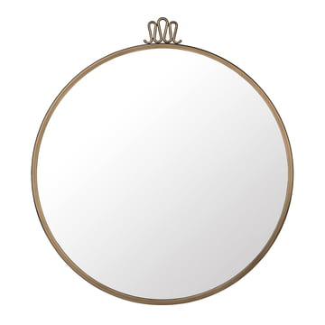 Randaccio Wall Mirror Ø 70 cm by Gubi in Vintage Brass