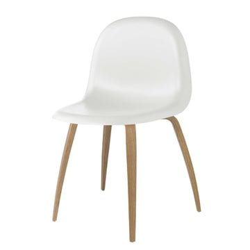 3D Dining Chair Wood Base by Gubi in Oak / White Cloud
