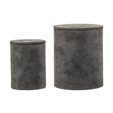 Set of 2 Suede Storage Boxes by Bloomingville in Grey