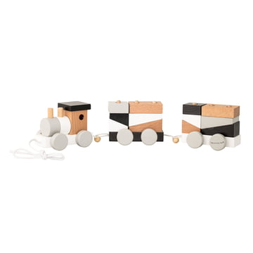 Train with 2 carriages and blocks by Bloomingville in black / white / grey