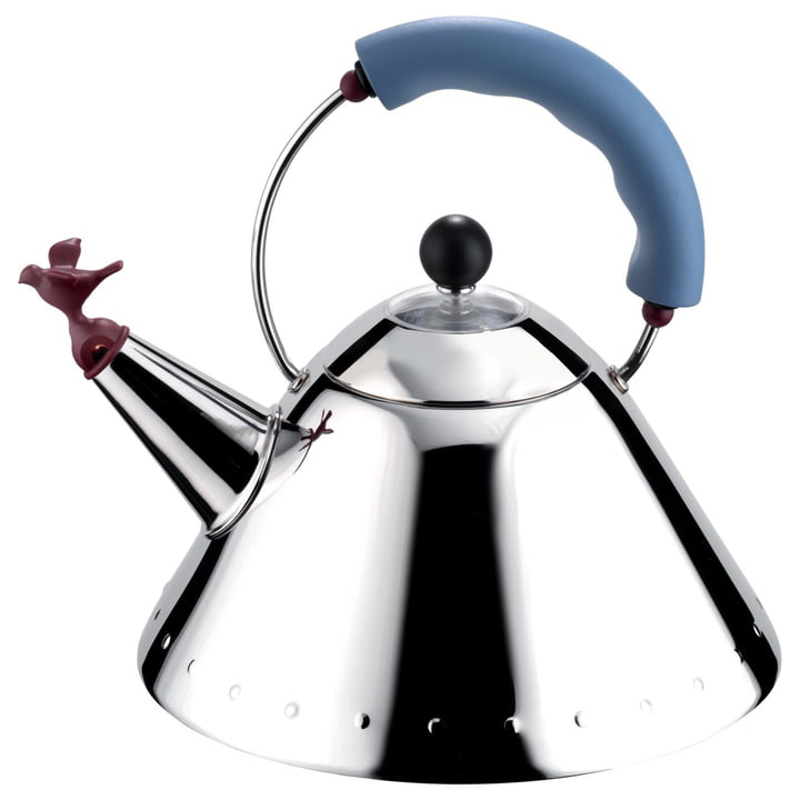 Alessi - 9093 'Bird Kettle', glossy polish / light blue