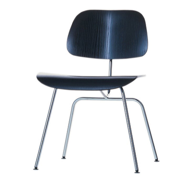The Vitra Plywood Group DCM chair in black ash / stainless steel