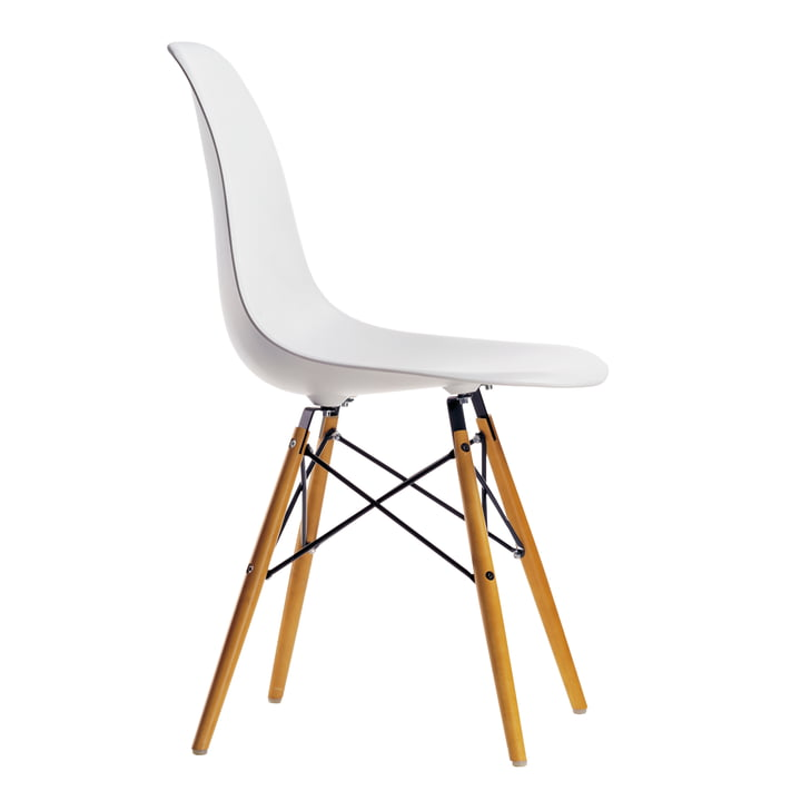 Eames Plastic Side Chair DSW by Vitra in maple yellowish / white
