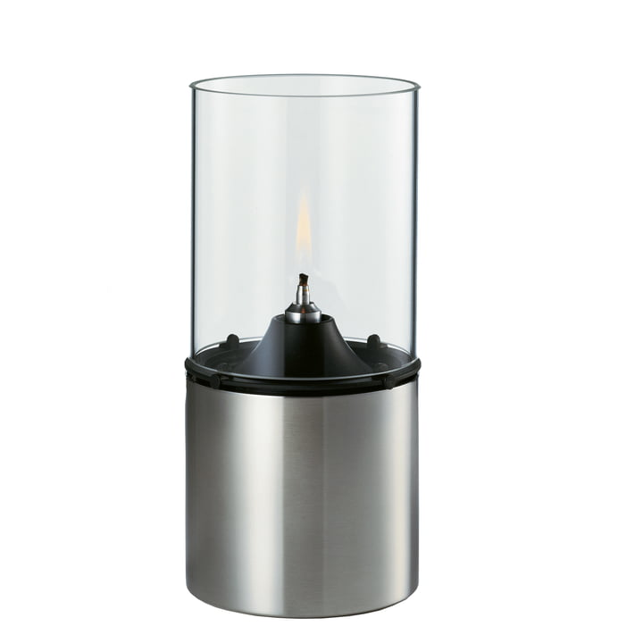 The oil lamp from Stelton made of glass and stainless steel