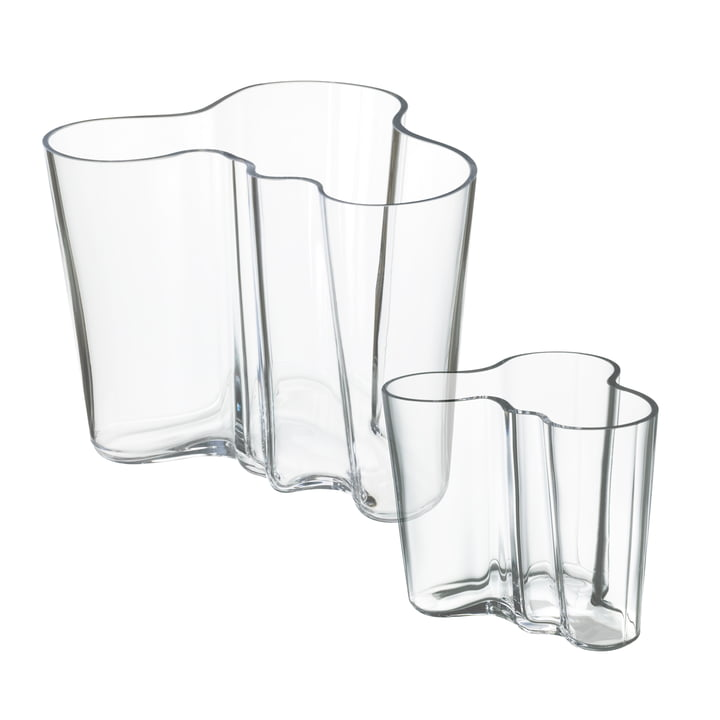 Aalto vase set 160 + 95 mm from Iittala in clear