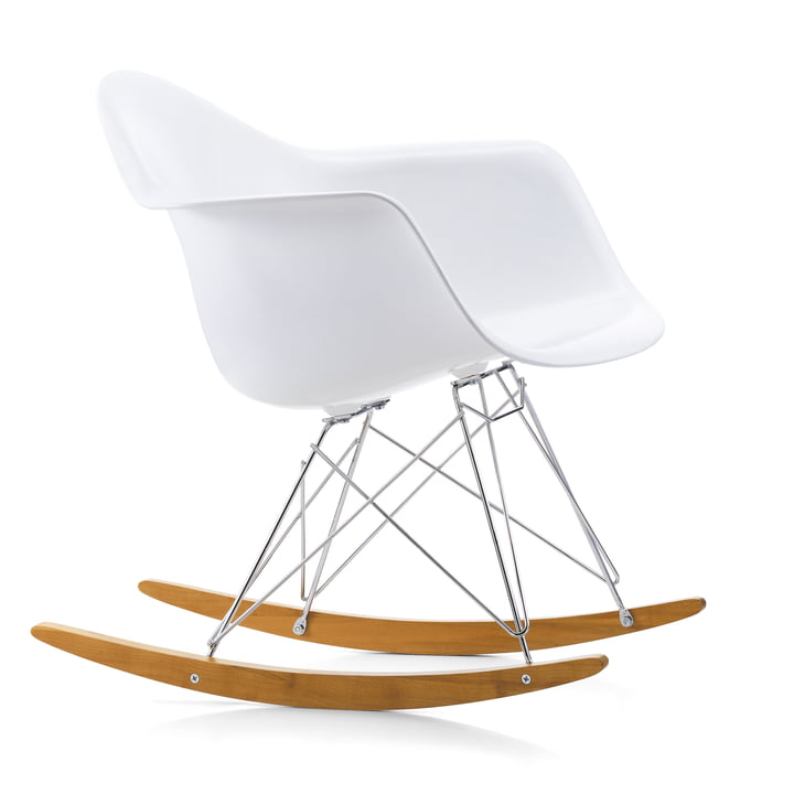 Eames Plastic Armchair RAR from Vitra in maple yellowish / chrome / white
