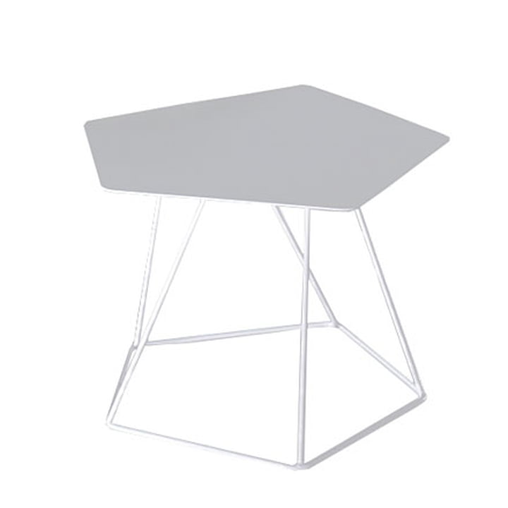 Tectonic side table, 43cm, tabletop made out of steel sheet, white