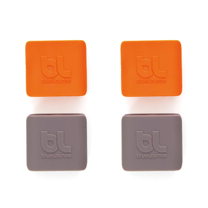 Bluelounge - CableClip, medium: grey and orange