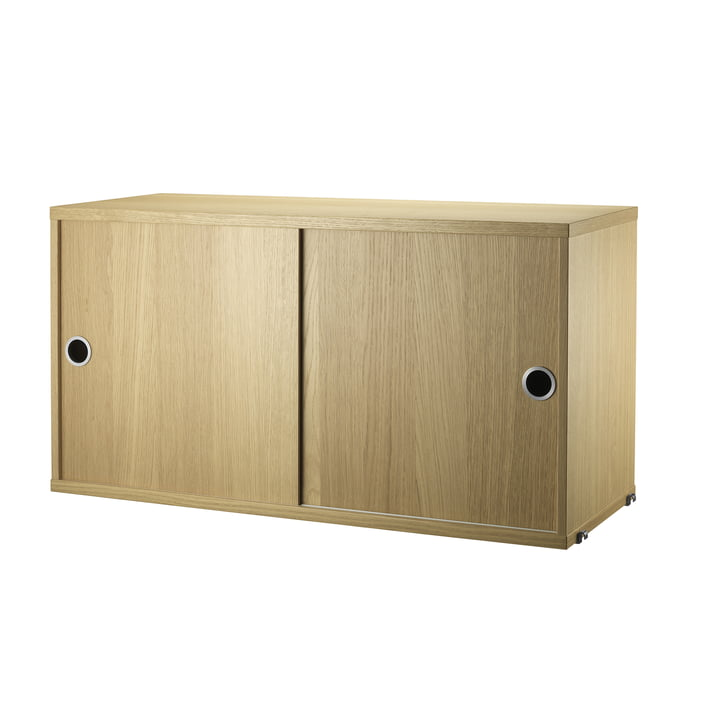 Cabinet Module with Sliding Doors 78 x 30 cm by String in Oak