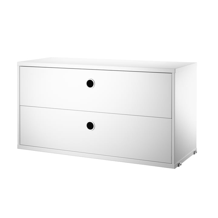 Cabinet with Drawers 78 x 30 cm by String in White.