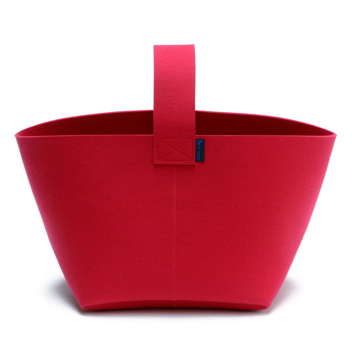 Hey Sign Firewood Basket with handle - poppy red