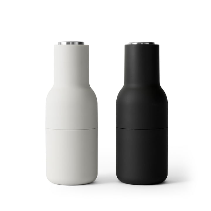 Bottle salt and pepper mills set from Menu in Ash / Carbon (stainless steel lid)