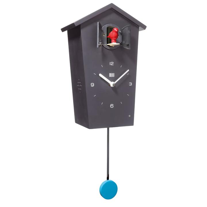 Bird House Cuckoo Clock, black, bird red, pendulum blue
