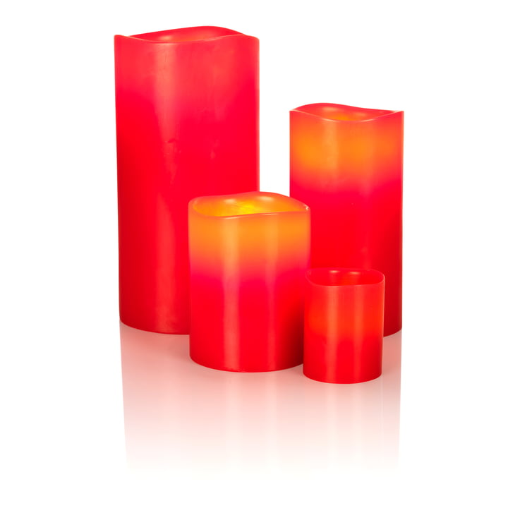 LED Real Wax Candle by Klein & More in red