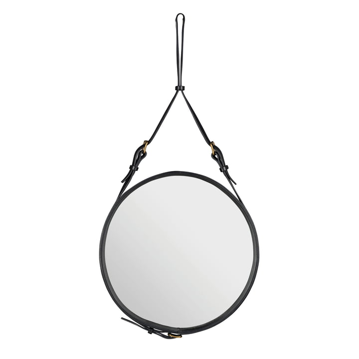 Adnet Mirror Ø 58 cm by Gubi in Black