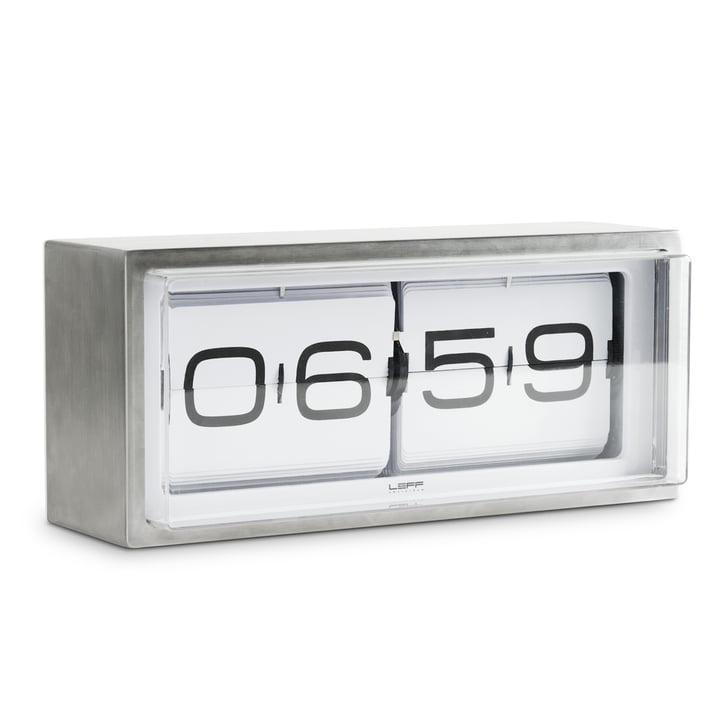Leff amsterdam - Brick table-clock, silver/white