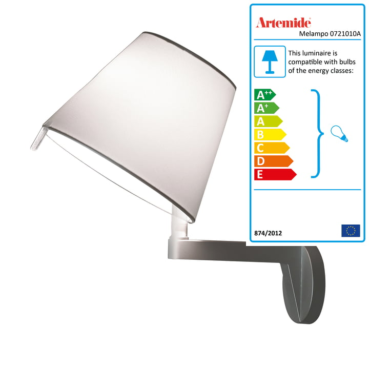 Artemide - Melampo Parete, on/off switch, aluminium grey