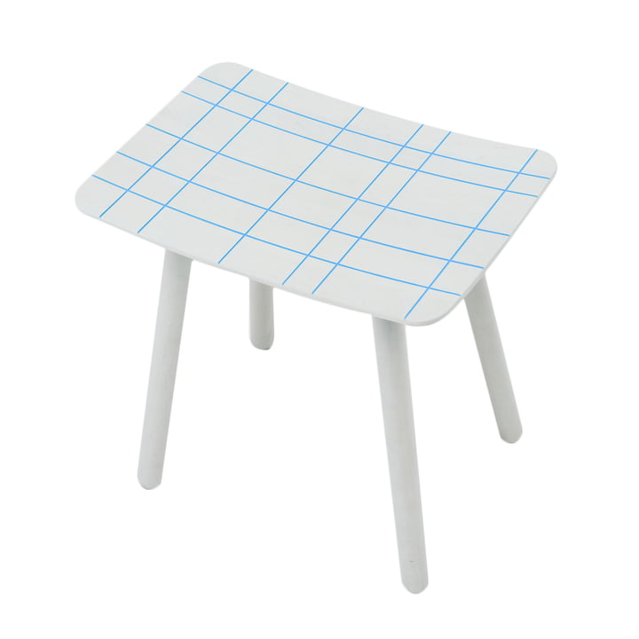 Karimoku - Stool color, blue grid pattern