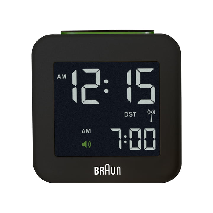 Braun - Digital radio-controlled alarm clock BNC008, black - front view