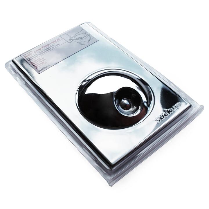 Suck UK - Bottle Opener Fridge Magnet, silver - package