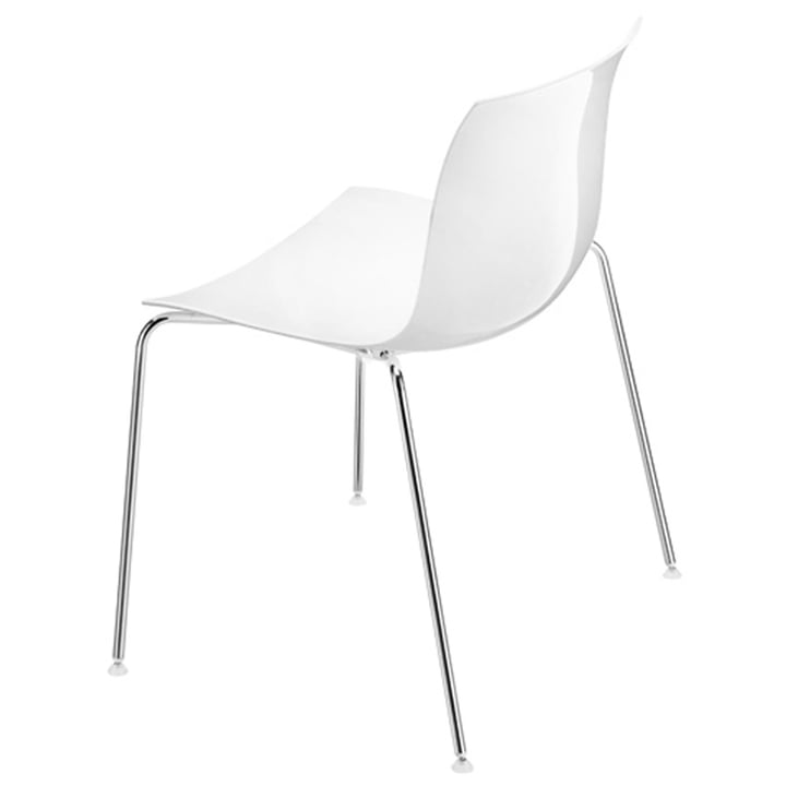 Arper - Catifa 53 chair, white plastic seat / chrome-plated four-legged frame