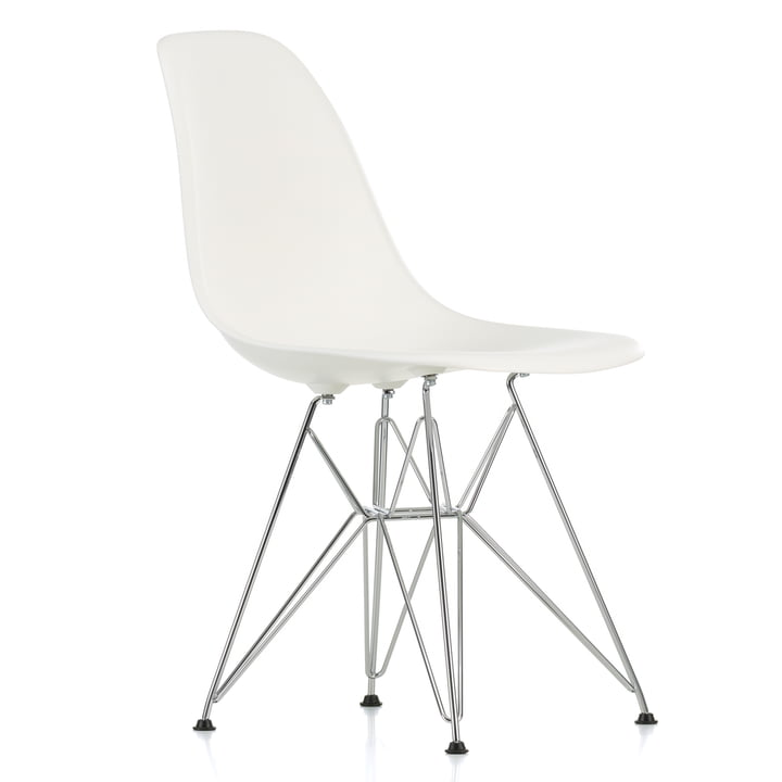 Vitra - Eames Plastic Side Chair DSR, chrome-plated / white, black felt pads