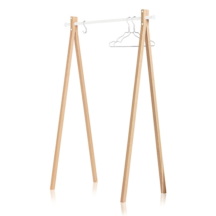 Nomess - Dress-Up wardrobe, ash wood, white, 120 cm