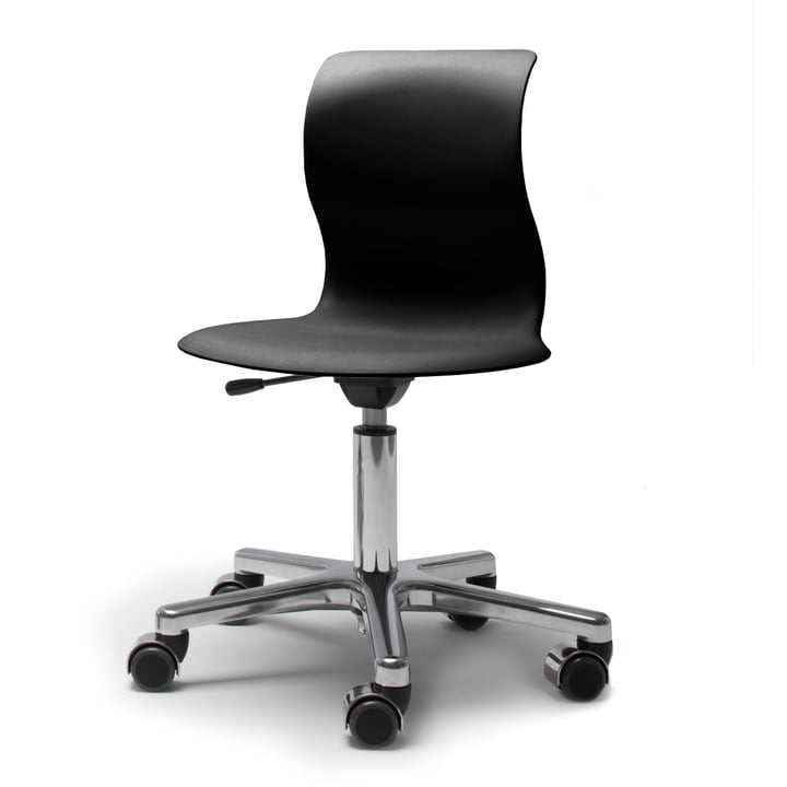 Flötotto, Pro 4 and 5 swivel base chrome-plated, seat graphite