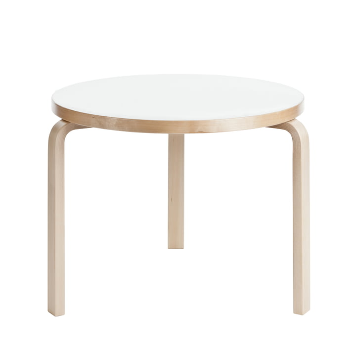 90B Table H 74 cm by Artek with white laminate surface