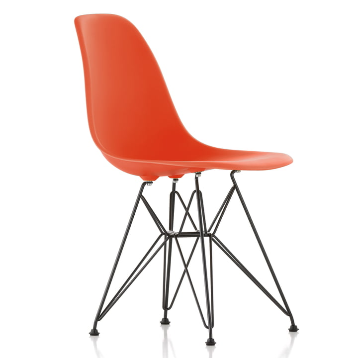 Eames Plastic Side Chair DSR by Vitra in basic dark / poppy red
