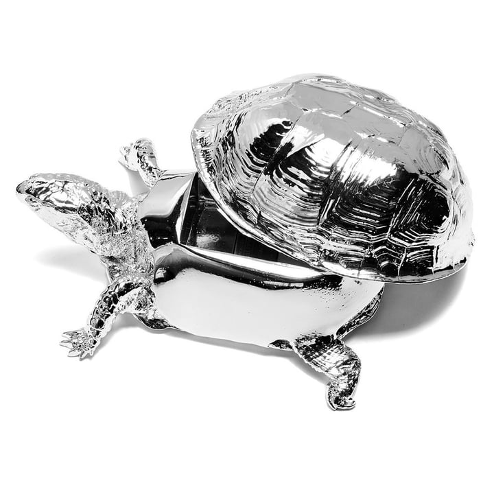 Areaware - Turtle Box, silver - open