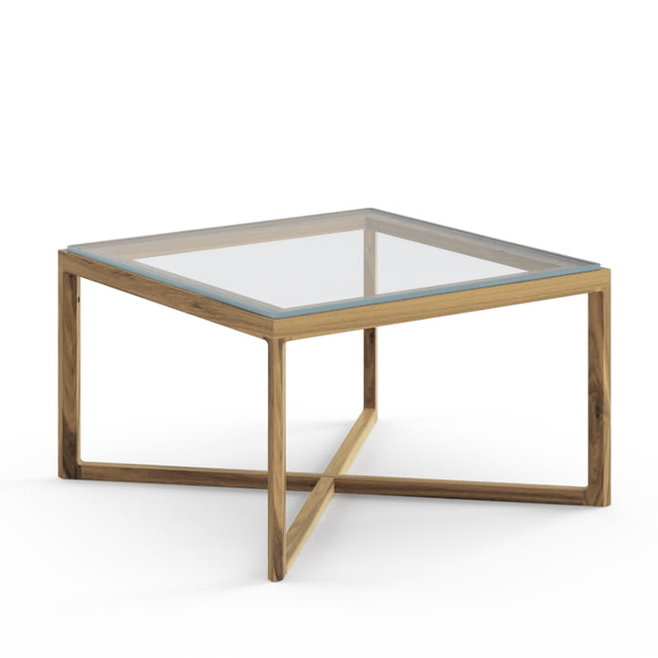 Knoll - Marc Krusin End Table, Oak, Clear Glass