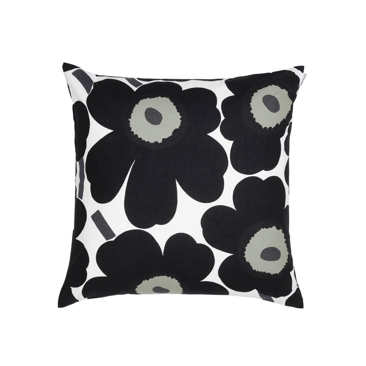 Marimekko - Pieni Unikko Cushion Cover 50 x 50 cm, white / black