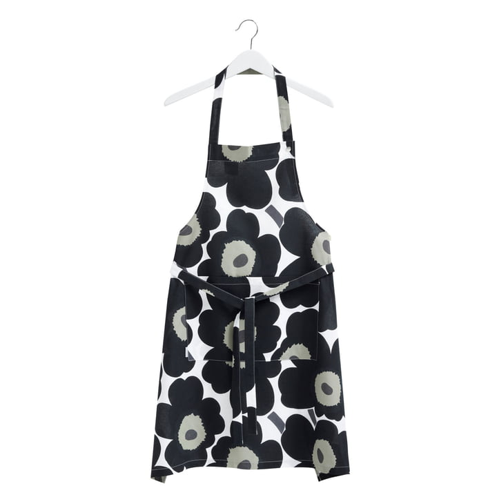 Pieni Unikko Apron by Marimekko in white / black / olive