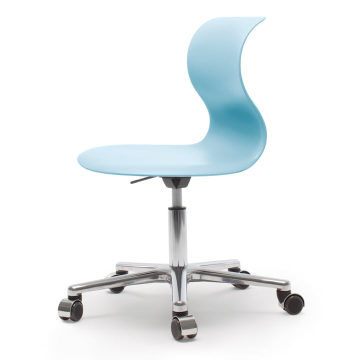 Flötotto - Pro 6 swivel chair, polished aluminium, aqua blue
