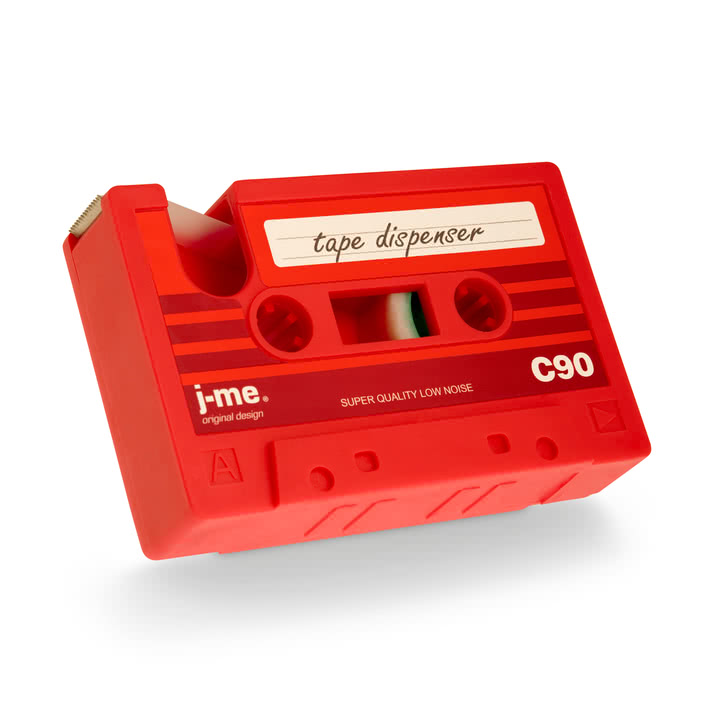 j-me - cassette tape dispenser, red - diagonal from below