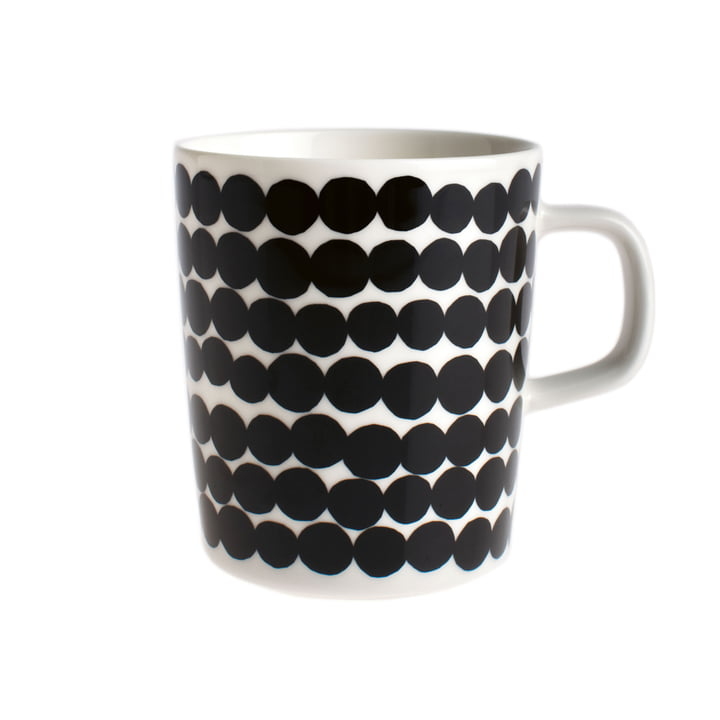 Oiva Räsymatto Cup with Handle 250 ml by Marimekko in Black / White