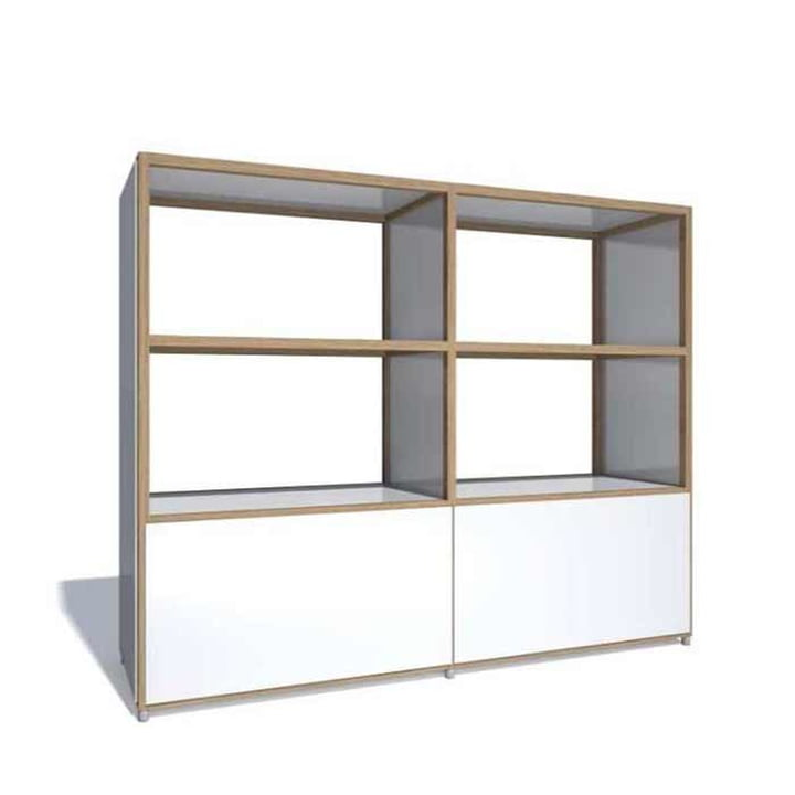 Flötotto - ADD Highboard, 2 spacious drawers, white melamine