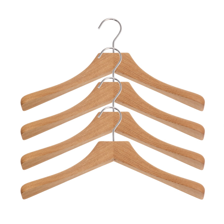 0112 clothes hangers, set of 4 in white oak
