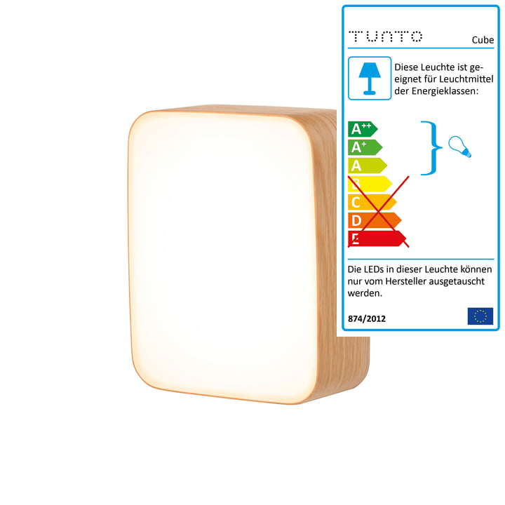 Cube S wall lamp by Tunto in natural oak