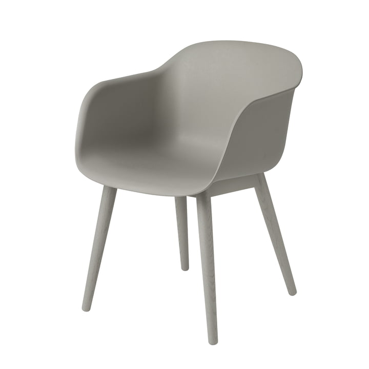 Fiber Chair Wood Base by Muuto in grey