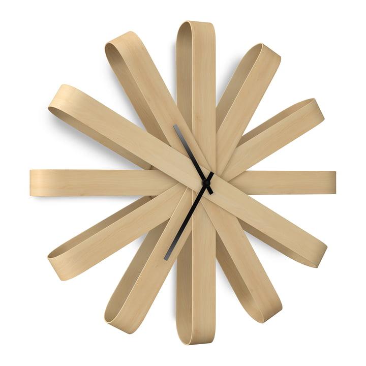 Ribbonwood Wall clock, natural beech from Umbra